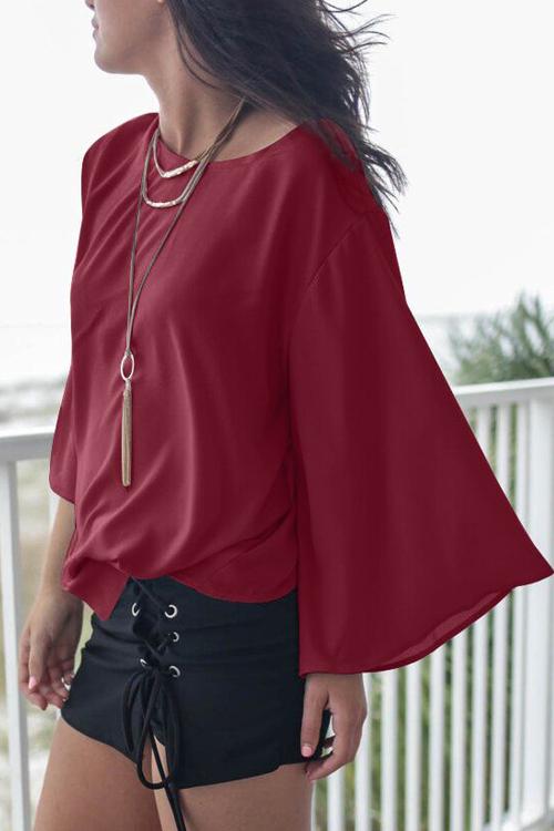 Camicia rossa del cotone rosso di vino Backless del collo rotondo