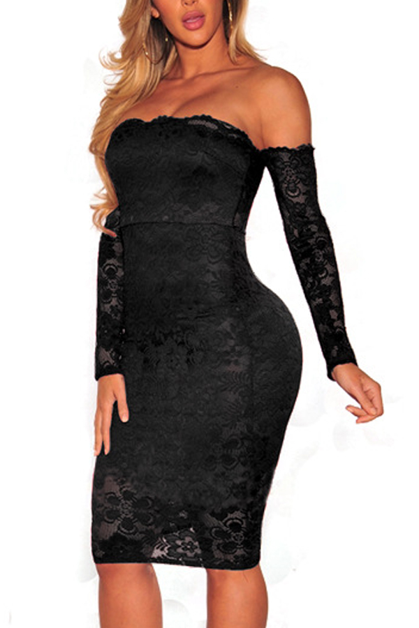 Sexy Dew Shoulder Black Lace Sheath Knee Length Dress