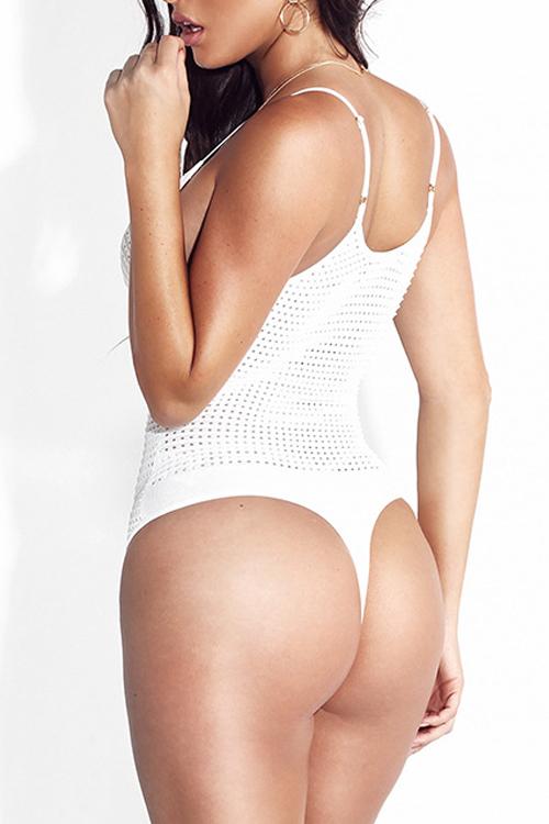 Sexy V Neck Hollow-le coton blanc un-pièce Maillots maigres