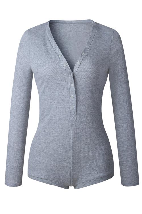 I bottoni sexy del collo di V progettano una miscela di cotone grigio-piece Sciarpe sottili