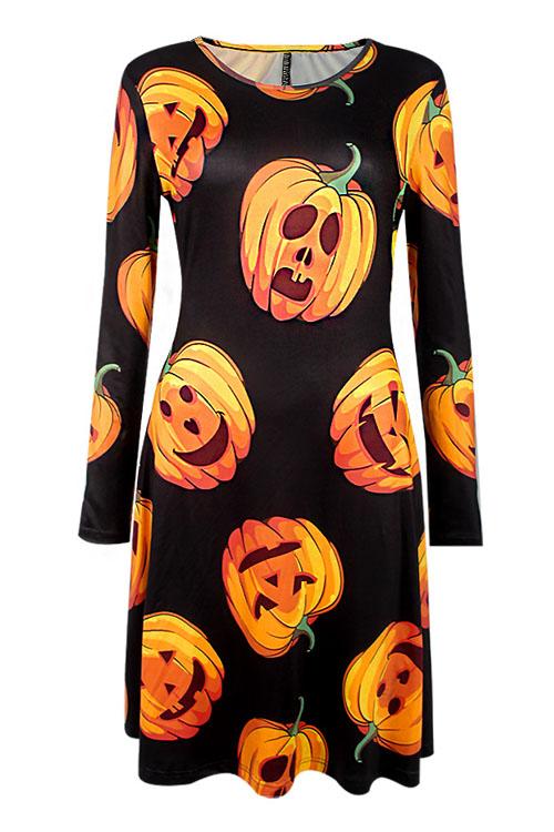Halloween Long Sleeves Pumpkin printing Casual Dress