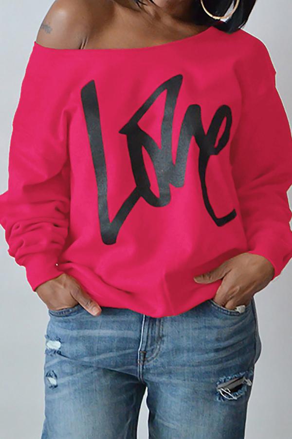Lovely Leisure Round Neck Long Sleeves Letters Printing Rose Red Sweatshirt Hoodie