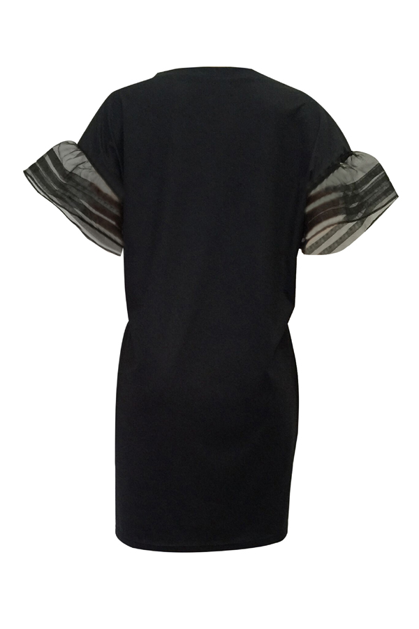 Euramerican Round Neck Printed Black Polyester Mini Dress