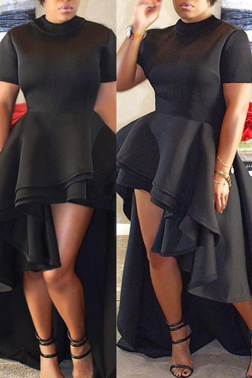 Stylish Mandarin Collar Asymmetrical Falbala Design Black Polyester Mid Calf Dress