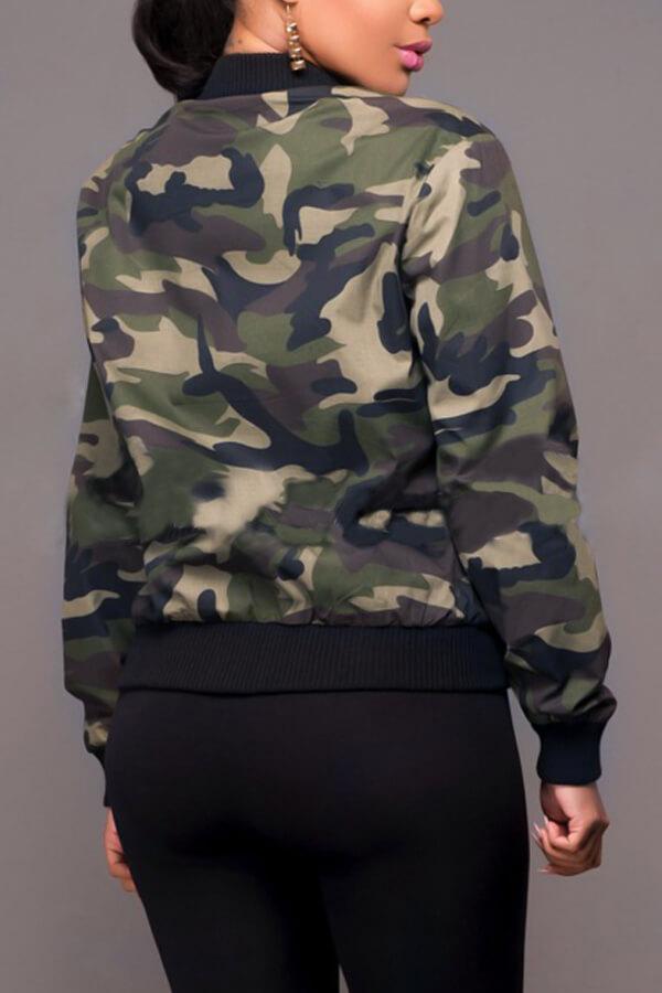 Trendy Round Neck Camouflage gedruckte Polyesterjacke