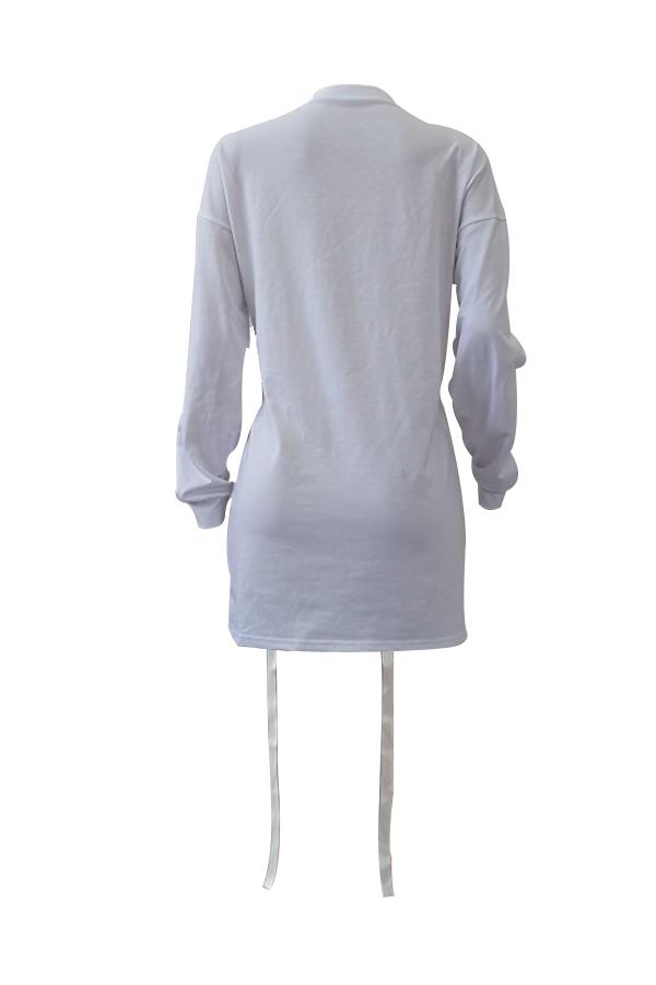 Maniche lunghe rotonda Leisure manica lunga stampata in Poliestere Bianco Vestito