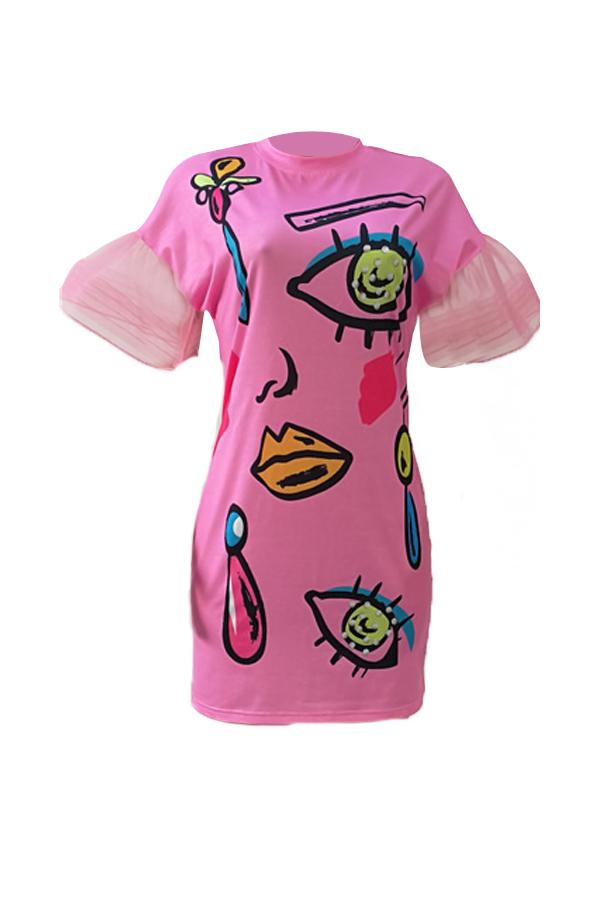 Euramerican cuello redondo manga corta impreso rosa vestido de poliéster mini vestido