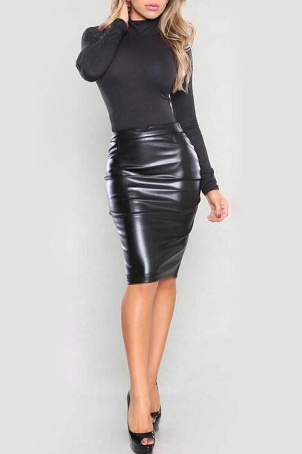 Trendy High Waist Black Leather Sheath Knee Length Skirts