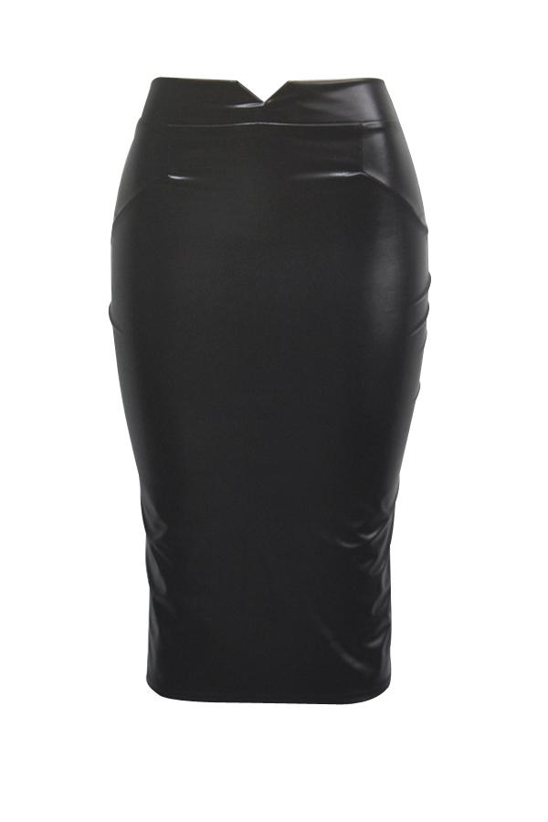 Модные Высокой Талией Черные Кожаные Оболочки Длина Колена Юбки