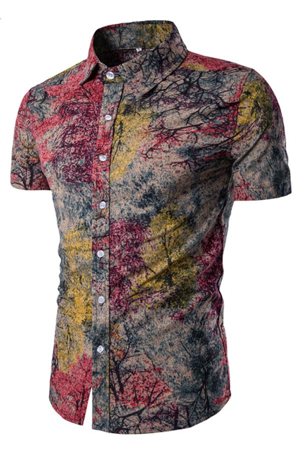 Blending Turndown Collar Short Sleeve Print Men Clothes