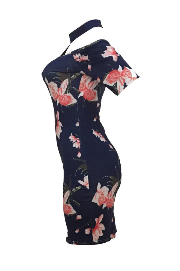 Lovely Charming Turtleneck Printed Hollow-out Navy Blue Milk Fiber Sheath Mini Dress