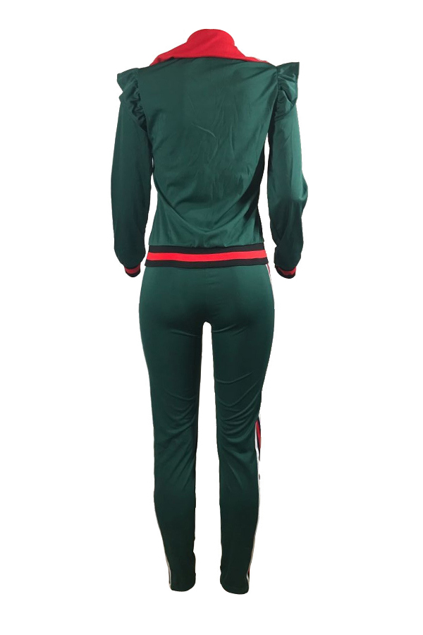 Leisure Turndown Collar Long Sleeves Zipper Design Green Cotton Two-piece Pants Set