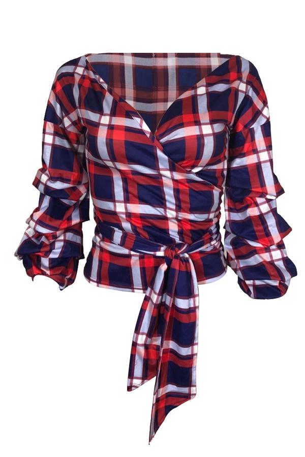 Trendy V Neck Dew Shoulder Plaids Red Polyester Shirts