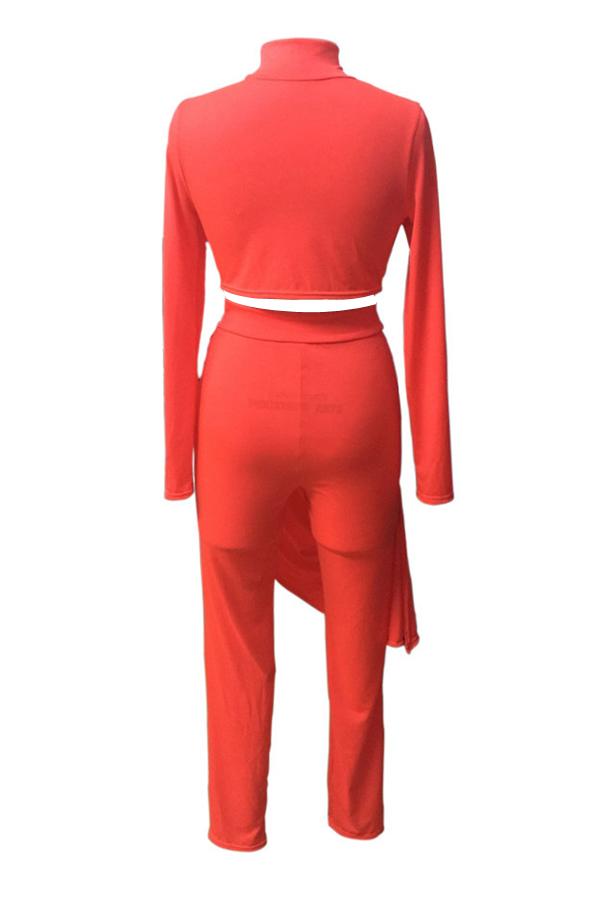 Euramerican Round Neck Asymmetrical Red Milk Fiber Pantalones de dos piezas Set