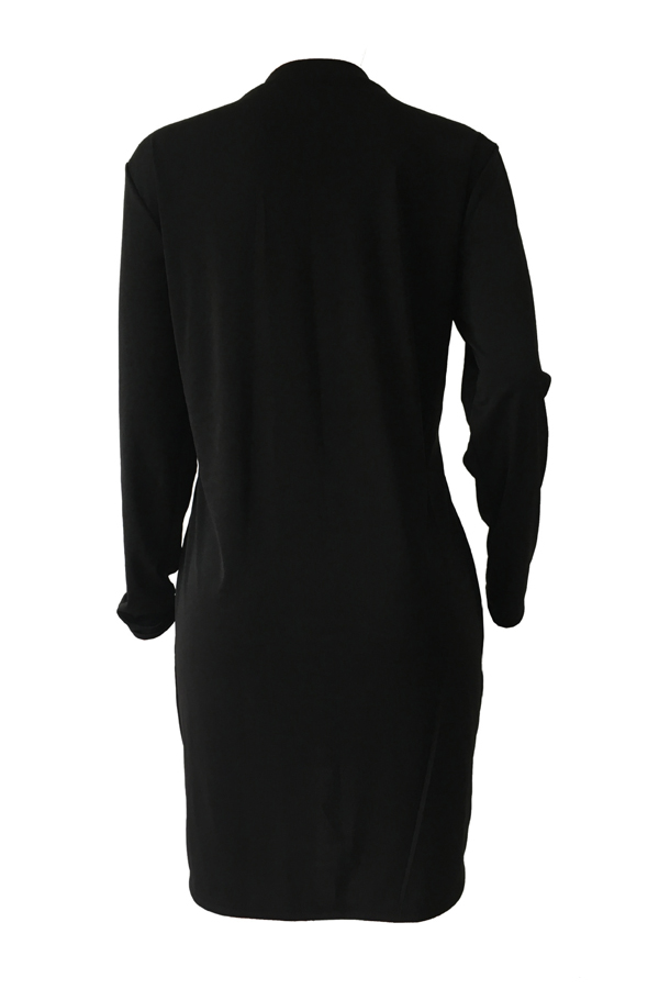 Polyester Casual O neck Cap Sleeve Long Sleeve Straight Mini Dresses