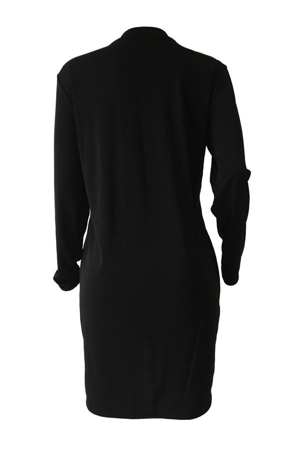 Полиэстер Повседневная O шеи Cap рукавом длинным рукавом прямые мини-платья