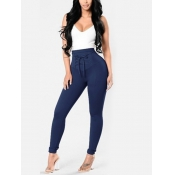 Euramerican High Waist Lace-up Blue Polyester Pant