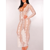 Sexy U-shaped Neck See-Through White Polyester Ank