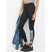 Leisure High Waist Letters Printed Black Cotton Bl
