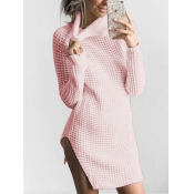 Euramerican Turtleneck Long Sleeves Pink Knitting