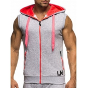 Leisure Hooded collar Light Grey Cotton Waistcoat
