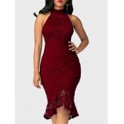 Trendy Round Neck Lace Trim Patchwork Vinho Red Waath Vestido médio de bezerro