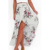 Trendy High Waist Printed Asymmetrical White Polye