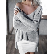 Trendy V Neck Long Sleeves Asymmetrical Grey Cotto