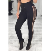 Sexy High Waist Patchwork Hollow-out Black Polyest