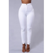 Euramerican High Waist Zipper Design Bianco Denim P