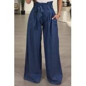 Lovely Stylish High Waist Light Blue Cotton Pants(