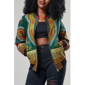 Ethnic Style Round Neck Totem Printed Green Polyes