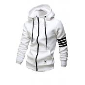 Leisure Hooded Collar Long Sleeves Zipper Design W