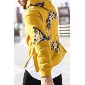 Leisure Hooded collar Long Sleeves Printed Yellow