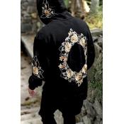 Leisure Hooded collar Long Sleeves Printed Black C