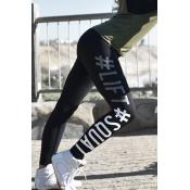 Freizeit Elastische Taillenbriefe bedruckte schwarze Polyes
