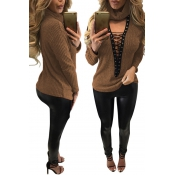 Sexy Deep V Neck Hollow-out Brown Knitting Sweater