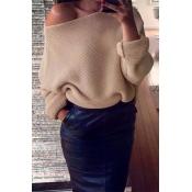 Euramerican Round Neck Long Sleeves Khaki Acrylic