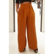 Stylish High Waist Yellow Cotton Pants(With Belt)