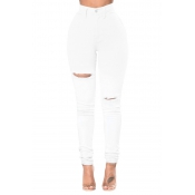 Stylish High Waist Broken Holes White Denim Pants