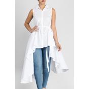 Stylish Turndown Collar Asymmetrical White Cotton