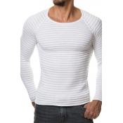 Euramerican Round Neck Long Sleeves White Acrylic Sweater