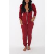 Leisure V Neck Zipper Design Red Cotton One-Piqûres