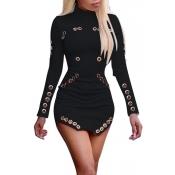 Cuello redondo de moda mangas largas hueco-out negro vestido de tela sana mini vestido