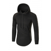 Euramerican Long Sleeves Black Cotton Blends Hoodi