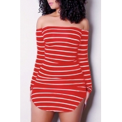 Euramerican Dew Shoulder Striped Red-Mini vestido de bainha de fibra de leite branco