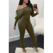 Trendy Dew Shoulder Lace-up Green Cotton Blends One-piece Jumpsuits