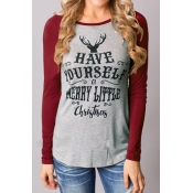 Christmas Print Long Sleeves T-shirt