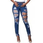 Stylish High Waist Broken Holes Blue Denim Pants