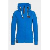 Casual Long Sleeves Zipper Design Blue Cotton Hoodies Coat